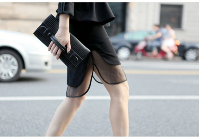 2013-fashion-new-mid-long-skirt-sexy-punk-style-black-Transparent-g-yarns-fake-two-layers